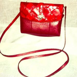 Red leather crossbody wallet BRIGHTON